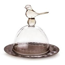 Load image into Gallery viewer, Jan Barboglio 6 Whiskey Dona Paloma dove glass and iron serving platter bird six whisky