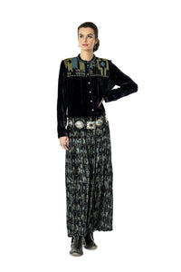 DDR Night Darkness Velvet Printed Broom Skirt 6Whiskey six whisky Taos Holiday Collection S1713