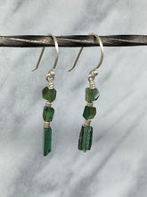 Load image into Gallery viewer, green tourmaline dangle earrings 6whiskey six whisky