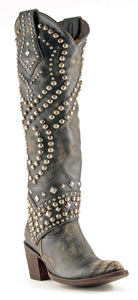 Old Gringo Tall Belinda Boot in Distressed Black w/ Studs 6Whiskey