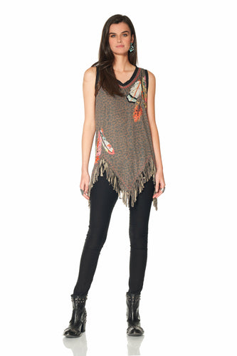 DDR Three Feather Leopard Tank Top at 6Whiskey six whisky in Cynthia spring collection T3426