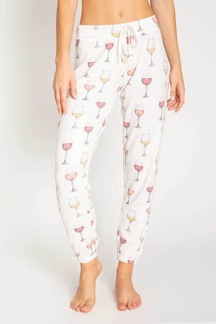 PJ Salvage Wine Glass Jogger Pants 6 whiskey swirl six whisky