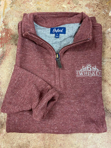 Oxford Crawford 1/4 Zip Fleece Pullover 6Whiskey Fall 2020 In Maroon