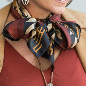 Aztec Fall silk bandanna/wildrag at 6Whiskey six whiskey women's