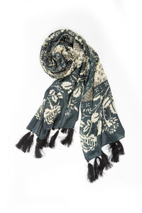 Double D Ranch Scarf ~ Rita Blanca Patch FA640 DD Ranch 6 Whiskey black white fringe western throw cover up floral