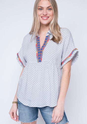Ivy Jane dash and dot embroidered short sleeve top