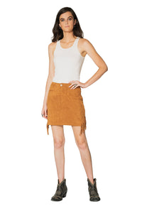 DDR Wild West Suede Fringe Skirt in shasta brown at 6Whiskey six whisky Maria Spring S1729