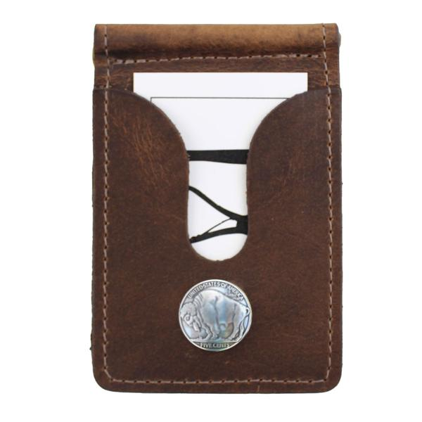 Over Under Bison Leather Front Wallet