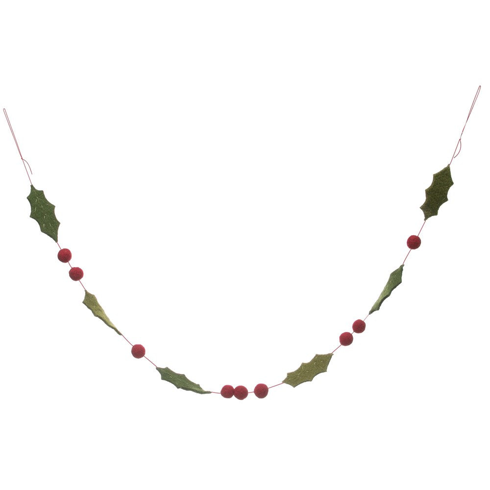 Felt Holly and Berries garland red green 6 whiskey
