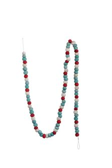 Wool Felt  Ball Garland, Multi Color Turquoise, Red & Ivory