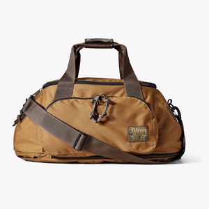 Filson front view Whiskey colored backpack duffle bag 6 Whiskey