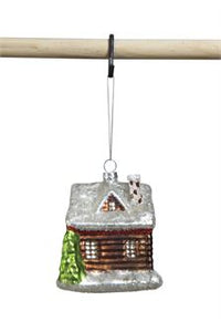Glass Log Cabin Ornament