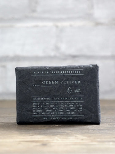 Green Vetiver Deep Cleansing Texas Bar Soap Boyds 6 Whiskey all natural charcoal