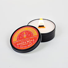 Load image into Gallery viewer, Good and Well Supply 6 whiskey Hearth Travel Tin Candle bay leaf and cinnamon bark mingle a hint of sandalwood round all natural wood wick soy