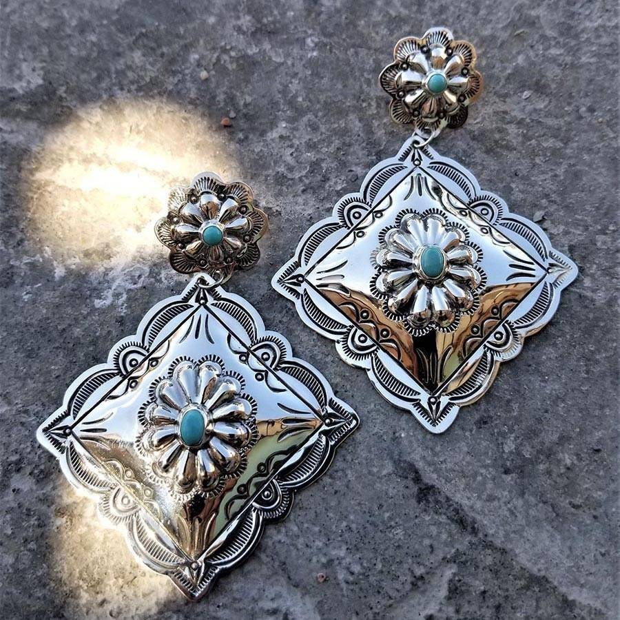 Southwestern style hand stamped silver earrings 6 Whiskey with turquoise 1969