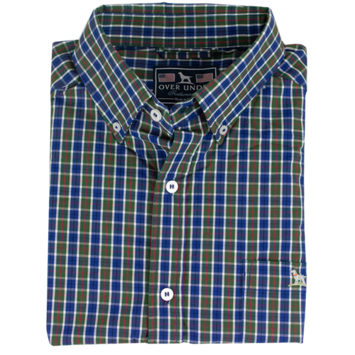 Over Under ~ Button Down Shirt 6 Whiskey plaid long sleeve featherweight wrinkle resistant six whisky
