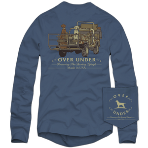 Over Under Long Sleeve T-Shirt ~ Shotgun Rider 6 Whiskey Georgetown USA American made grown blue pocket six whisky