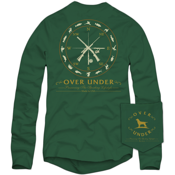 Over Under ~ Long Sleeve T Shirt ~ Sportsman Compass 6 Whiskey green hunting fishing duck dog