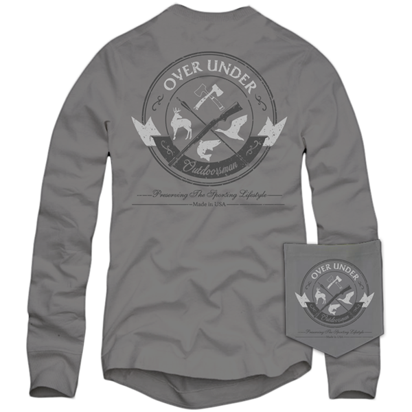 Over Under ~ Long Sleeve T-Shirt ~ Traditional Outdoors man 6 Whiskey American made six whisky