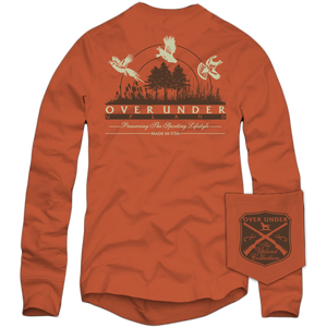 Over Under ~ Long Sleeve T Shirt ~ Upland Collection 6 Whiskey dove duck dog hunting six whisky
