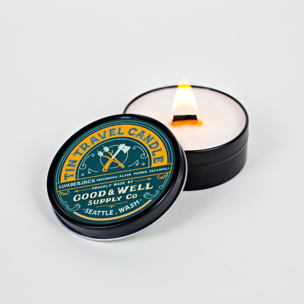 Lumberjack Travel Tin Candle Good and well supply 6 whiskey all natural soy six whisky wood wick