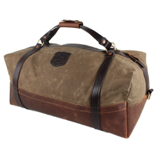Load image into Gallery viewer, Over Under ~ Logger Duffel Bag 6 Whiskey American made six whisky Georgetown leather wax canvas