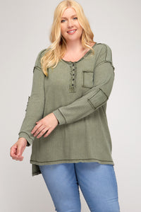 Long Sleeve Button Down Knit Top