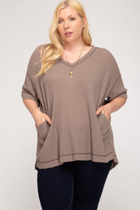 Half Sleeve Thermal Knit Top