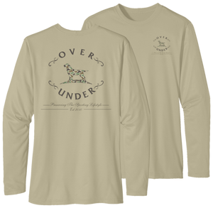 Over Under Performance Timber Tech ~ Long Sleeve 6 Whiskey Georgetown UPF 50+ Anti-Microbial Dye-Sublimated Print for No stick Moisture Wicking Stain Resistant