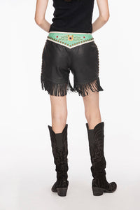 Double D Ranch Leather Fringe Shorts ~ Midnight Cowboy ~ P441