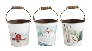 Metal Bucket w/ Paint By Number Image & Wood Handle, 3 Styles