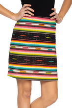 Load image into Gallery viewer, Double D Serape skirt 6 Whiskey Bakersfield Collection multi stripe S1693