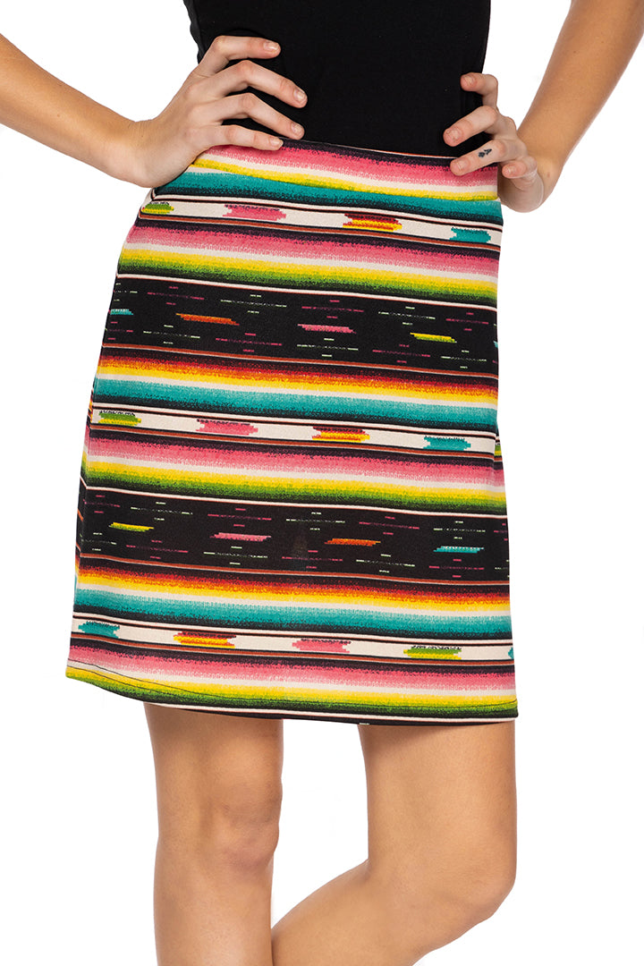 Double D Serape skirt 6 Whiskey Bakersfield Collection multi stripe S1693