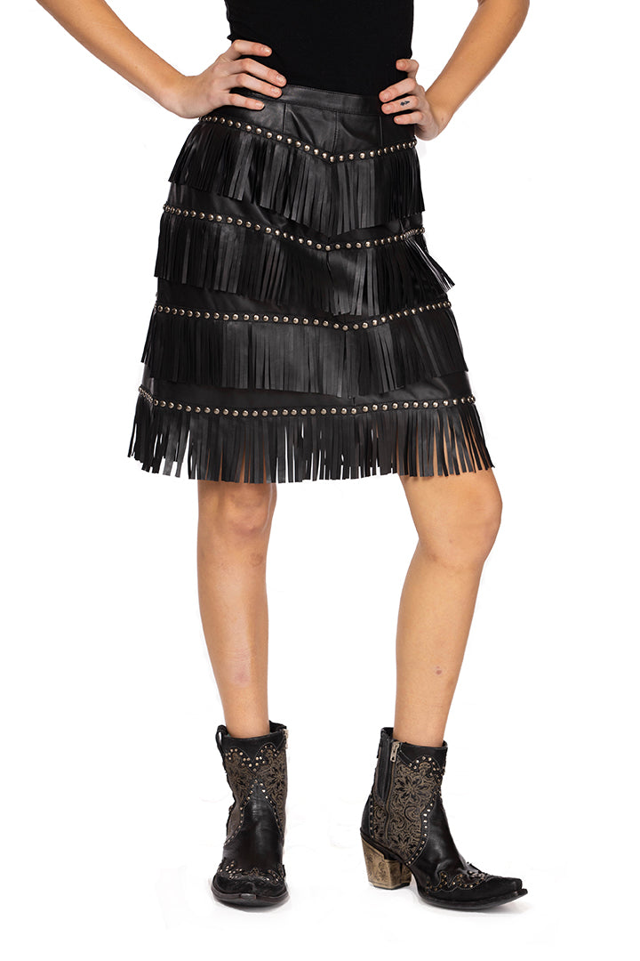 Double D 6 Whiskey Bakersfield Queen of the Rodeo fringe skirt in black S1696