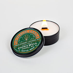 Spring travel candle rosemary National Park Collection 6 whiskey good well supply all natural six whisky wood wick soy tin