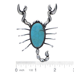 Scorpion sterling silver pin with Campitos Turquoise six Whisky 1284