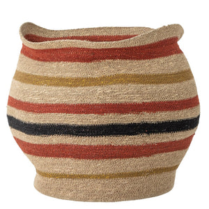 Hand woven sea grass stripe basket 6whiskey red gold and black