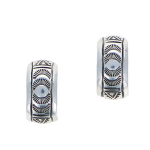 Southwestern silver hoop earrings Navajo 6 Whiskey  1993