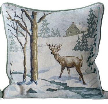 Square Cotton Pillow w/ Winter Paint By Number Image, 2 Styles