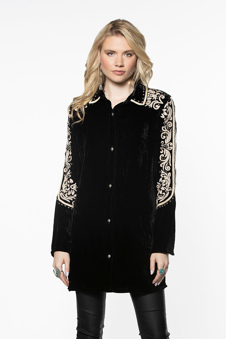Double D Ranch Velvet Top ~ Las Espuelas ~ T3175 DD Ranch 6 Whiskey stunning black velvet long sleeve tunic with cream embroidery at shoulder and down sleeve collar detail silver studs rodeo chic rock star style