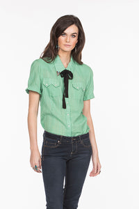 Double D Ranch Top, 6whiskey six whisky Helluva Stud in Celadon Green,  DDR, Midnight Cowboy T3199
