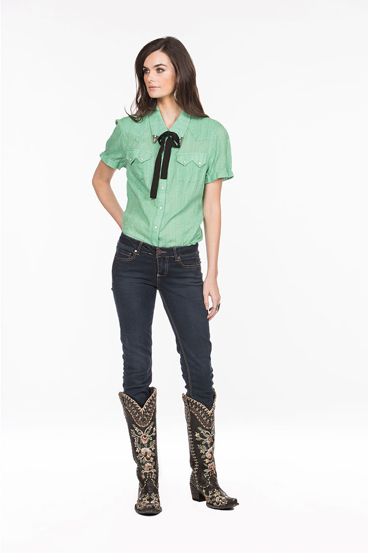 Double D Ranch Top,6whiskey six whisky Helluva Stud in Celadon Green,  DDR, Midnight Cowboy T3199