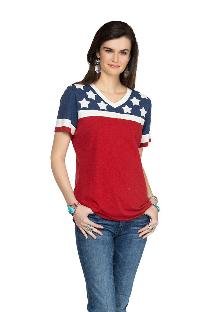 Double D Willies Picnic Hitcher tee with white stars red white blue short sleeve T3250 six whiskey 6
