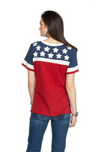 Load image into Gallery viewer, Double D Willies Picnic Hitcher tee with white stars red white blue short sleeve T3250 six whiskey 6