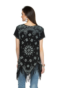 Double D 6 Whiskey Black bandana short sleeve top with fringe T3257 six whisky Willies Picnic Summer back view