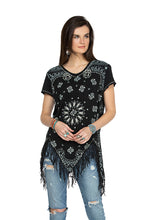 Load image into Gallery viewer, Double D 6 Whiskey Black bandana short sleeve top with fringe T3257 six whisky Willies Picnic Summer
