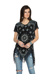 Double D 6 Whiskey Black bandana short sleeve top with fringe T3257 six whisky Willies Picnic Summer