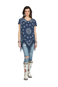Double D 6 Whiskey Blue Bandana short sleeve with fringe top Willies Picnic T3257 July six whisky