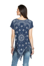 Load image into Gallery viewer, Double D 6 Whiskey Blue Bandana short sleeve with fringe top Willies Picnic T3257 July six whisky back view