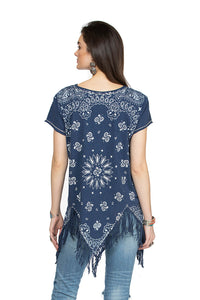 Double D 6 Whiskey Blue Bandana short sleeve with fringe top Willies Picnic T3257 July six whisky back view